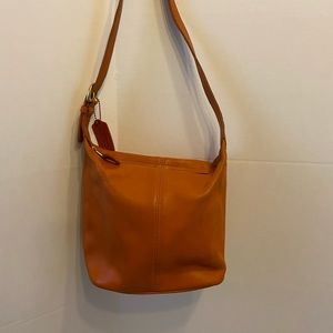 "Orange mini coach shoulder leather 8""x9"" orange"